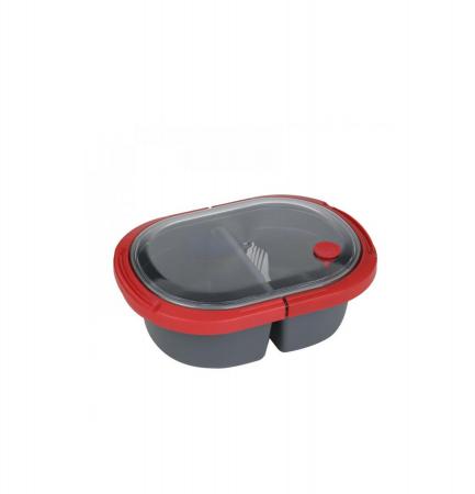 Cutie alimente LUNCH BOX ovala, Rosu, 2 compartimente,800 ml0