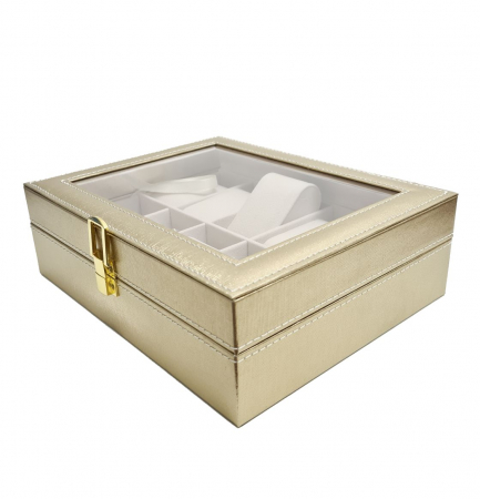 Cutie pentru Ceasuri si Bijuterii, 10 spatii, Auriu, 25x20x8 CM [0]