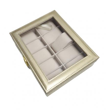 Cutie pentru Ceasuri si Bijuterii, 10 spatii, Auriu, 25x20x8 CM [1]