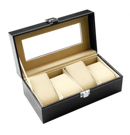 Cutie pentru 4 Ceasuri din piele ecologica 20x11x8 CM0