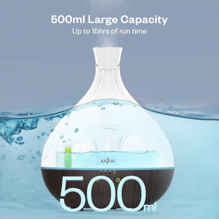 Difuzor ANJOU Aromaterapie cu ultrasunete, 500 ML, LED, Wenge [5]