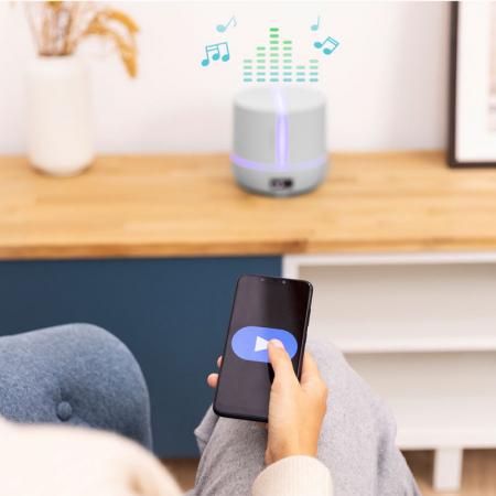 Difuzor aroma cu Ultrasunete Smart PureAroma 500 ml, control Smartphone, 7 culori LED, boxa incorporata - Gri [2]
