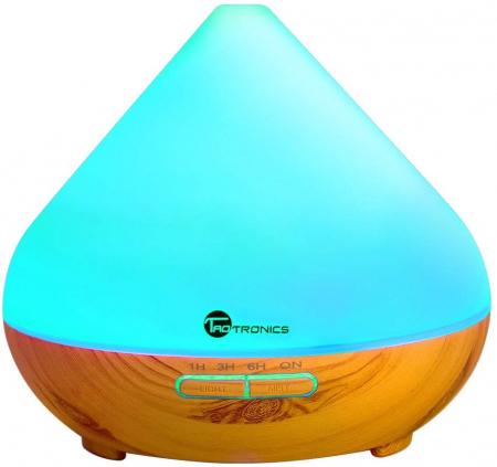 Difuzor Aromaterapie cu ultrasunete, Led 7 culori, oprire automata,  300 ml