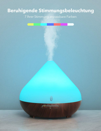 Difuzor Aromaterapie cu ultrasunete, Led 7 culori, oprire automata, Maro, 300 ml1