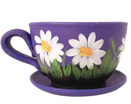 Ghiveci Traditional din Ceramica, pictat manual, codita si farfurie, 13 x 10 CM0