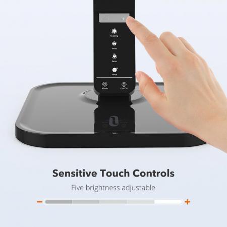 Lampa de birou LED TaoTronics, control Touch, 4 moduri de lumina, 14 W, USB3