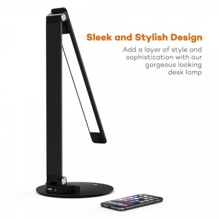 Lampa de birou LED TaoTronics, control Touch, 5 moduri de lumina, 9W, USB, Black3