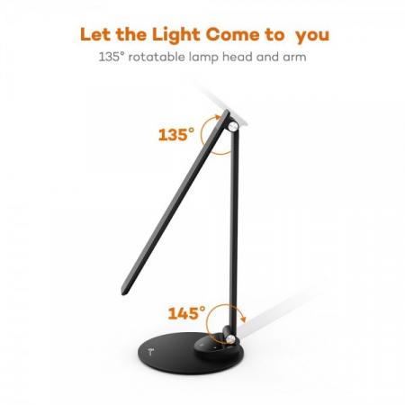 Lampa de birou LED TaoTronics, control Touch, 5 moduri de lumina, 9W, USB, Black5