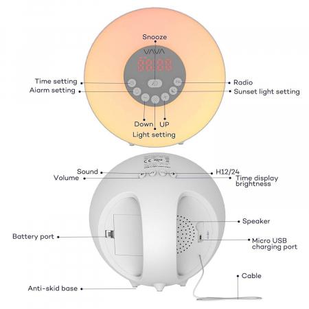 Lampa de Veghe 7 culori LED, cu Radio FM si Ceas cu alarma, Meniu Touch7