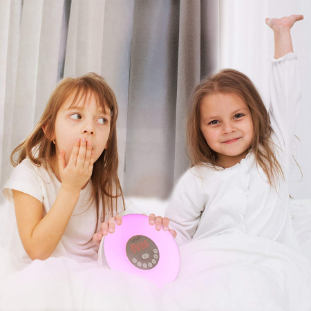 Lampa de Veghe 7 culori LED, cu Radio FM si Ceas cu alarma, Meniu Touch6