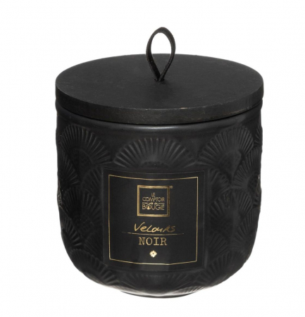 Lumanare parfumata FLOWER, cu pahar ceramic si capac, 190g, Negru0