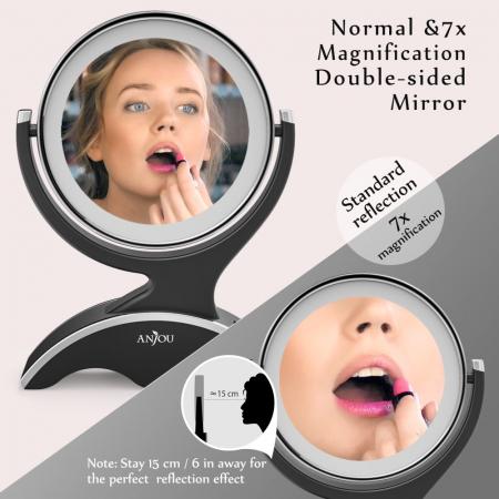 Oglinda cosmetica Anjou, iluminare LED, 2 fete, marire 7X5