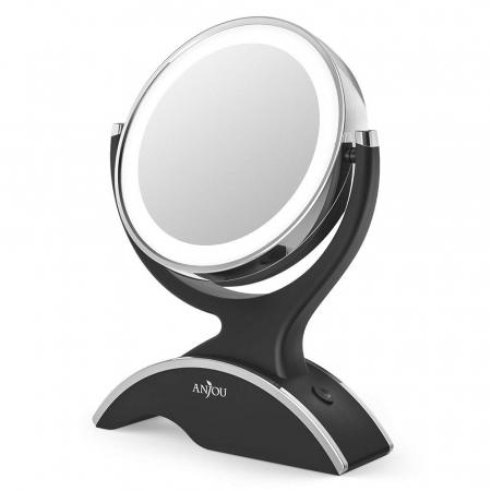 Oglinda cosmetica Anjou, iluminare LED, 2 fete, marire 7X0