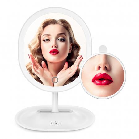 Oglinda cosmetica Anjou, iluminare reglabila LED, touch control, acumulator reincarcabil USB7