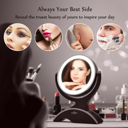 Oglinda cosmetica Anjou, iluminare LED, 2 fete, marire 7X6