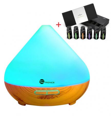 Pachet Aromaterapie, Difuzor cu ultrasunete 300 ML si Set 6 uleiuri esentiale [0]