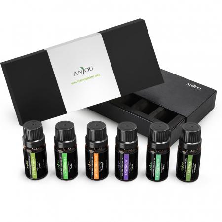 Pachet complet Aromaterapie, Difuzor cu ultrasunete si Set 6 uleiuri esentiale2