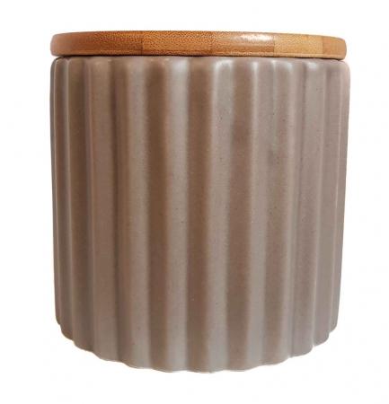 Set 3 recipiente din ceramică cu capac din bambus CREM1