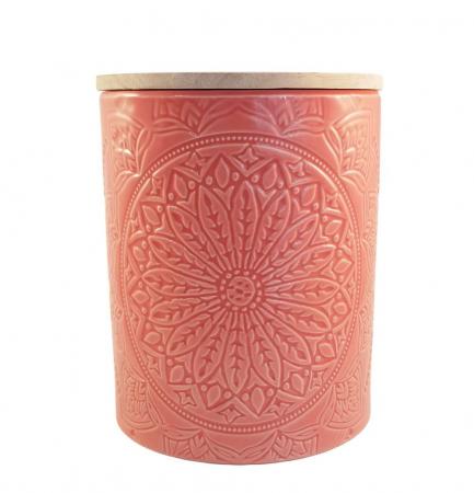 Recipient depozitare, MANDALA, culoare Somon, 800 Gr, Ceramica si capac Lemn