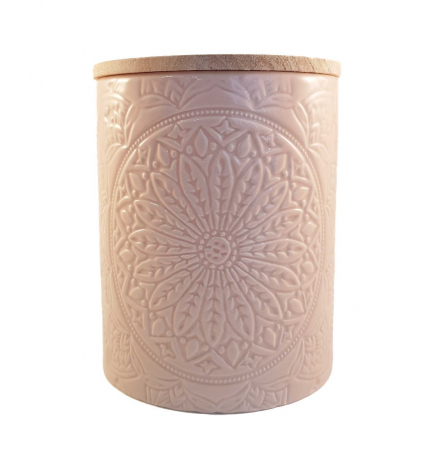 Recipient depozitare, MANDALA, culoare Roz, 800 Gr, Ceramica si capac Lemn