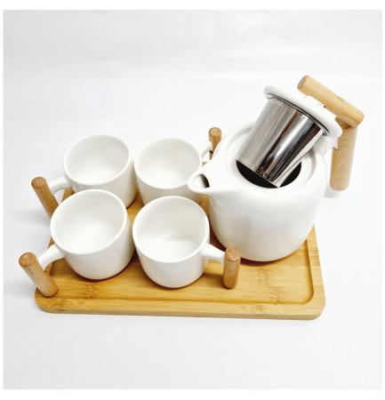 Set Portelan si Bambus, Ceainic cu infuzor, Tava si 4 Cani, STYLE, Alb1