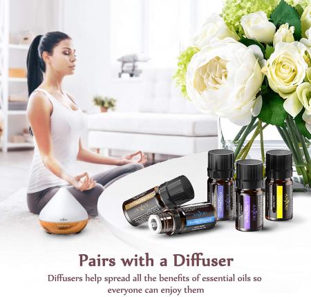 Pachet complet Aromaterapie, Difuzor cu ultrasunete si Set 12 uleiuri esentiale6