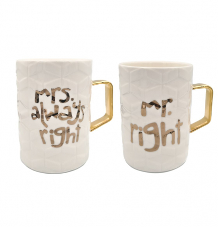 Set 2 Cani din Ceramica MRS RIGHT & MR RIGHT0