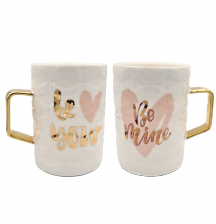 Set 2 Cani din Ceramica BE YOUR & BE MINE0