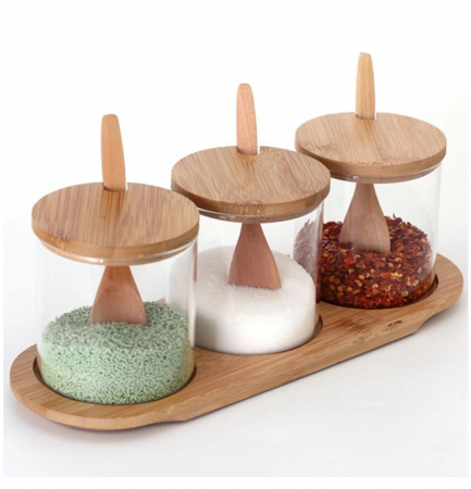 Set pentru condimente, 3 recipiente sticla Borosilicata, cu lingurite, capace si tava din bambus, 30x10x10 cm2