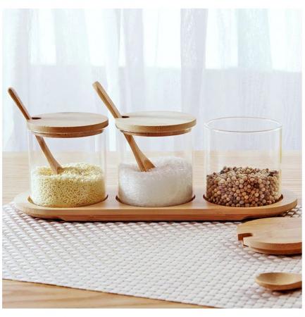 Set pentru condimente, 3 recipiente sticla Borosilicata, cu lingurite, capace si tava din bambus, 30x10x10 cm4