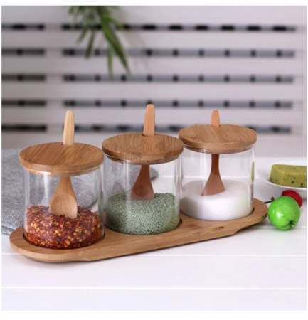 Set pentru condimente, 3 recipiente sticla Borosilicata, cu lingurite, capace si tava din bambus, 30x10x10 cm0