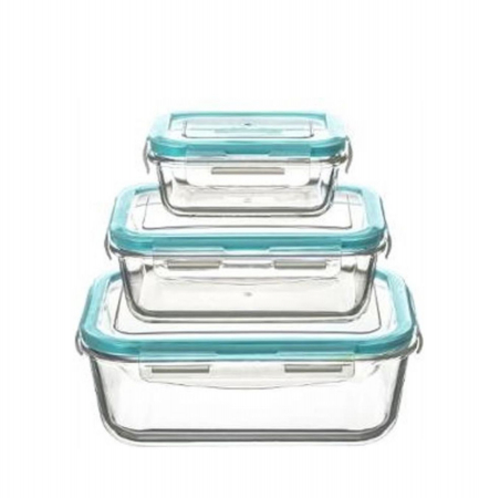 Set 3 cutii alimentare din sticla cu inchidere ermetica0