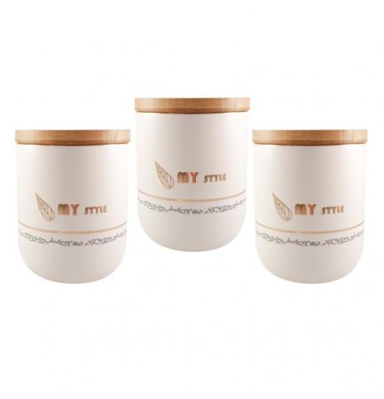 Set 3 Boluri Condimente din Ceramica si capac din Bambus, MY STYLE0