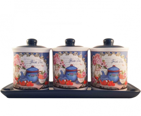 Set 3 Recipiente pentru condimente cu suport Ceramica, Fresh Day