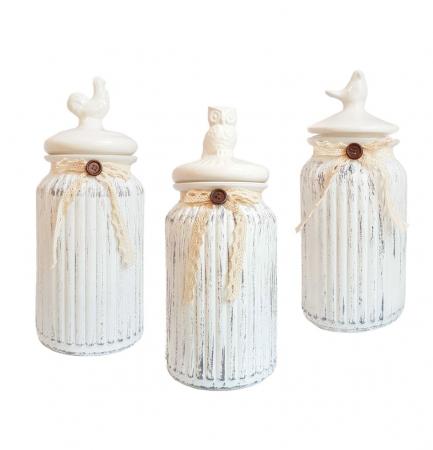 Set 3 recipiente Vintage, din sticla cu capac ceramica0