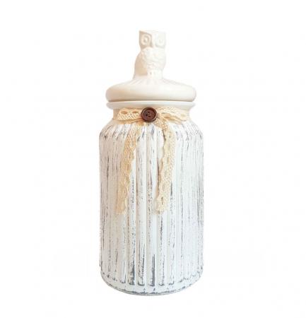 Set 3 recipiente Vintage, din sticla cu capac ceramica1