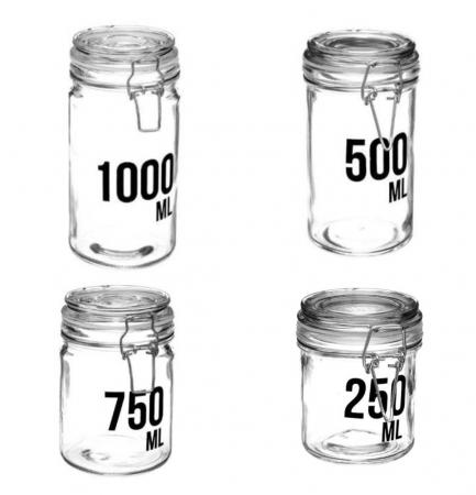 Set 4 Borcane din sticla cu cleme metalice,1000 ML+750 ML+500 ML+250 ML