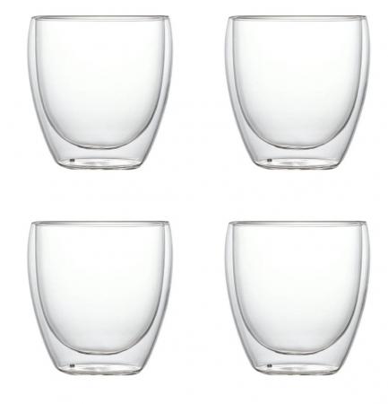 Set 4 Pahare din sticla Borosilicata cu pereti dubli, 250 ml x 40