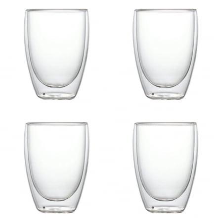 Set 4 Pahare din sticla Borosilicata cu pereti dubli, 350 ml x 40