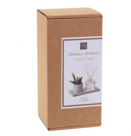 Set cadou Parfum Ambre&Jersey cu betisoare si planta artificiala, suport din Ciment, 22X11X91