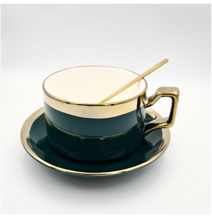 Set cafea Ceasca, farfurie si lingurita, QUALITY, 200 ml0