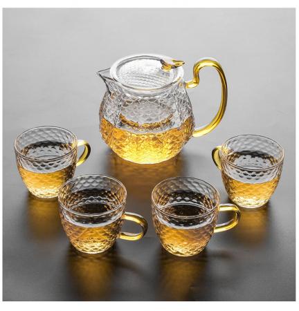 Set Ceai din Sticla Borosilicata, Ceainic cu infuzor si 4 Cani0