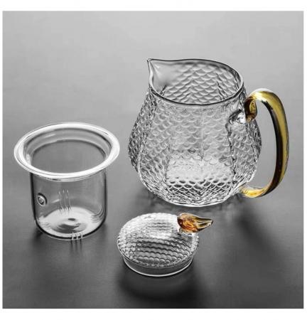 Set Ceai din Sticla Borosilicata, Ceainic cu infuzor si 4 Cani1