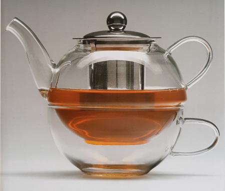Set Ceainic si Ceasca din sticla termorezistenta, cu infuzor din Inox1