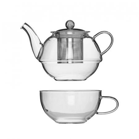 Set Ceainic si Ceasca din sticla termorezistenta, cu infuzor din Inox0