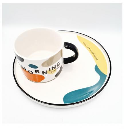 Set pentru Cafea si Ceai, Cana cu Platou, MORNING [1]