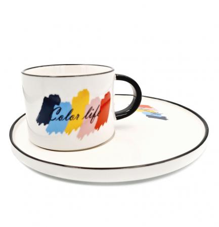 Set pentru Cafea si Ceai, Cana cu Platou, COLOR LIFE0