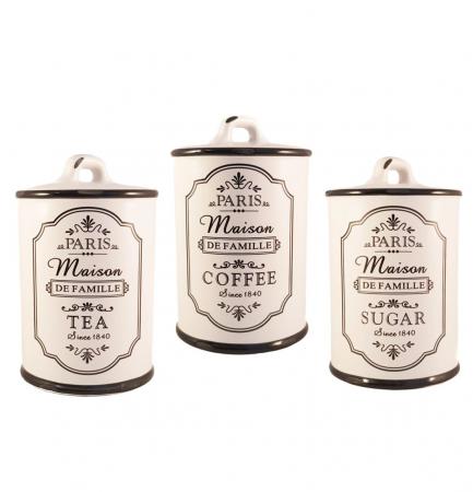 Set Ceramic PARIS, 3 recipiente pentru depozitare, Alb0