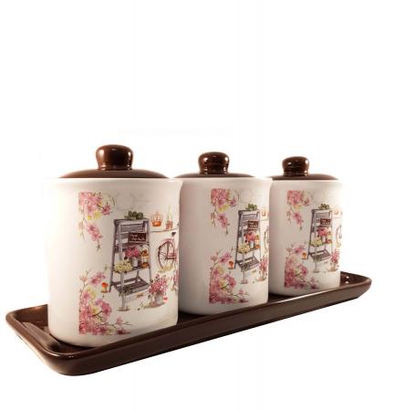 Set 3 Recipiente pentru condimente cu suport Ceramica, Pink0