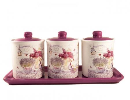 Set 3 Recipiente pentru condimente cu suport Ceramica, Lavander0
